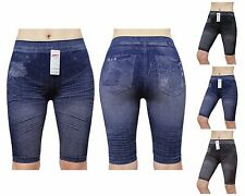GaiYi53036 Print Jean Denim Jegging Look Stretchy Skinny Seamless Legging Shorts