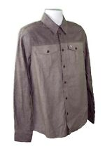 True Religion Men's Grey Cotton Long Sleeves Button Front Solid Western Shirt