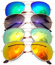 Classic Metal Aviator Sunglasses Mirror Lens Gold Color Frame 4 pairs