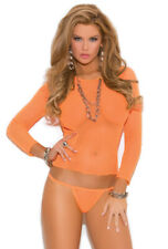 Sexy orange long sleeve fishnet g-string outfit