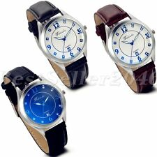 Fashion Stainless Steel Calendar Dial Leather Band Men Quartz Analog Wrist Watch