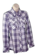 True Religion Women's Blue/White Cotton Long Sleeves Plaid Western Shirt