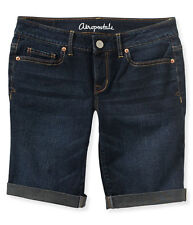 AEROPOSTALE WOMENS BERMUDA JEAN SHORTS DENIM COTTON DARK MEDIUM DESTROYED