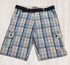 New Men's Ecko Unltd. Belted Plaid Cargo Shorts,  2 Colors Available- Size 34