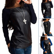 Fashion Women Long Raglan Sleeve Soild T-Shirt Ladies Casual Pullover Blouse Top