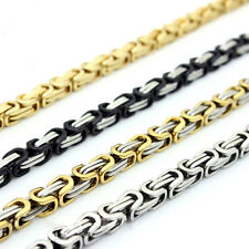 "18-40""MEN Stainless Steel 6/8mm Silver/Gold/Black Byzantine Box Chain Necklace"