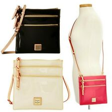 NWT Dooney & Bourke Patent Leather North South Triple Zip Crossbody Shoulder Bag