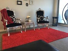 NEW Red Pure Cotton Retro Noodle Washable Shaggy Rug THREE SIZES