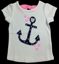 NWT Jumping Beans White Tee, Blue Anchor with Hearts Baby Girl 6M 9M, Toddler 4T