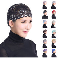 Womens Muslim Inner Hat Lace Scarf Hijab Bonnet Cap Headwear Islamic Headwrap