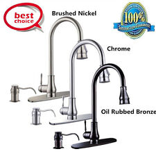 "18"" 16"" Kitchen Sink Faucet Chrome Pull-Out Spray Swivel Spout Dispenser V"