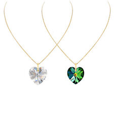 14k Gold Filled Heart Necklace Made With Crystal White/Green Swarovski Crystals