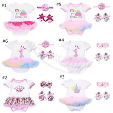 3PCS Infant Baby Girls Kids Headband Romper Shoes Bodysuit Tutu Dress Outfit Set