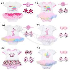 3PCS Newborn Baby Girls Romper Jumpsuit Bodysuit+Headband+Shoes Dress Outfits