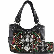 Justin West Rhinestone Cross Floral Embroidery Conceal Carry Purse Wallet Set