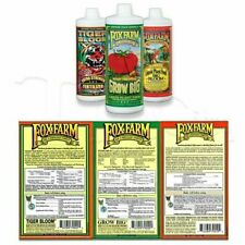Fox Farm Soil Trio Nutrients Bundle Big Bloom Grow Big Tiger Bloom Quart 32 OZ