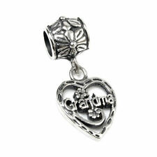 Antique Sterling Silver Heart Love Grandma Dangle Bead European Charm Bracelets
