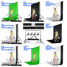 Photography Screen Black White Green Cotton Muslin Backdrop Background Stand Kit