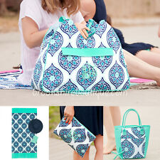 PERSONALIZED MONOGRAM BOHO MINT & BLUE BEACH TOWEL LUNCH TOTE or COSMETIC BAG