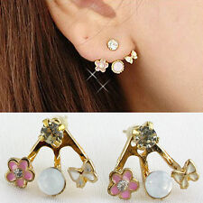 Fashion Korean Lovely Style Rhinestone Butterfly Flower Mounted Stud Earring Sas