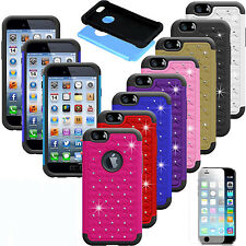 Luxury Bling Diamond Crystal Rubber Hard Protective Case Cover For iPhone Models