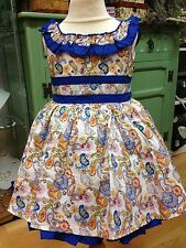 Girls Romany Spanish NEW SUMMER ROYAL BLUE FLORAL Dress Age 3 and Age 6