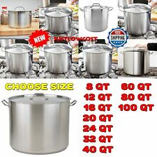 8,12,16,20,24,32,40,60,80QT Heavy-Duty Stainless Steel Induction Stock Pot Cover