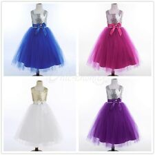 Flower Girl Dress Bow Sequin Wedding Bridesmaid Princess Party Kids Tulle Dress