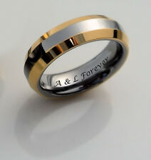 PERSONALIZED TWO TONE SILVER & GOLD TUNGSTEN RING ENGRAVED FREE 4mm PROMISE RING