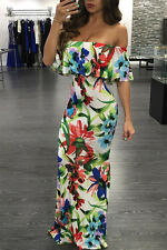 White Red Blue Green floral print Summer Evening Maxi Dress UK 8 - plus size 18