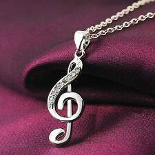New Elegant Silver Plated Necklace Musical Note Pendant Necklace Chain Dreamed