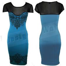 Womens Celebrity Teal Midi Dress Sheer Mesh Lacey Pattern Party Sweetheart