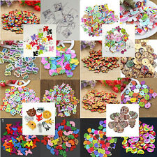 50PCS ASSORTED ANIMAL 2 HOLES WOODEN BUTTONS SEWING CRAFT SCRAPBOOKING DIY LIKE