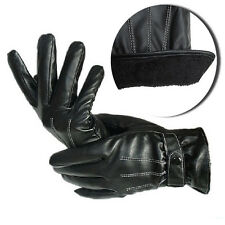 Warm Thermal Lined Gloves Vogue Mens Cashmere PU Leather Driving Unisex