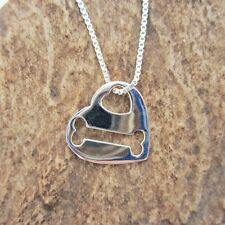 Heart and Bone Cut-Out Sterling Silver Necklace - Free Shipping