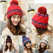 Women Lady  Warm Thicken Winter Ski Beanie Knit Crochet Baggy Hat Cap Hot 198