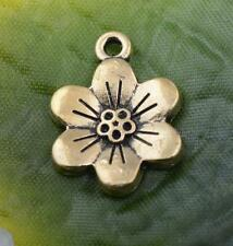 Wholesale 10pcs/50pcs/100pcs tibet silver light gold flower charm pendant crafts