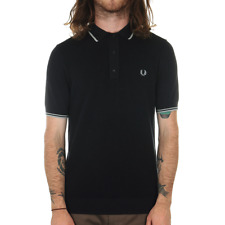 Fred Perry Tipped Knitted Polo Shirt - Navy