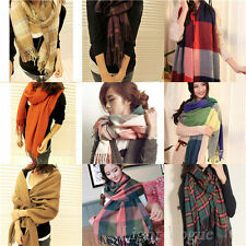 Women Girl Wool Tassels Plaid Checks Warm Winter Long Soft Scarf Shawl Wrap 28