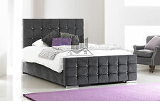 Crystal Fabric Upholstered Charcoal Bed Frame 4FT6 Double 5FT King Size
