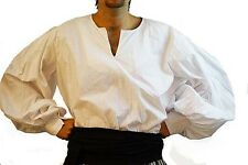 Medieval-LARP-SCA-REENACTMENT-ROLE PLAY-PIRATE COSPLAY MENS SLIT NECK SHIRT