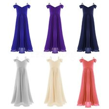 Flower Girl Dress Kids Sundress Bridesmaid Off Shoulder Pleated Prom Gowns Ball
