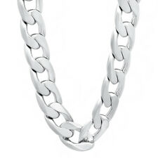 13mm Silver Plated Cuban Link Curb Chain Necklace