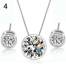 Women Chic Round Zircon Pendant Ear Studs Earrings Necklace Jewelry Set Healthy