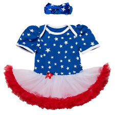 Baby Girl 4th of July American Flag Holiday Short Sleeve Romper Tutu Dress Set