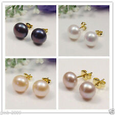 New 7-12MM 14K Gold Plated Real Freshwater White Pearl Stud Earring AAA+++