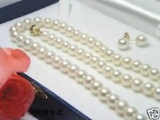 Hot! 7-8MM White Akoya Cultured Pearl Necklace 18 Inch-108 Inch+ Earring Set