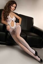 BODY STOCKING WHITE JUMPSUIT MESH BODY BODY FULL OPENINGS LINGERIE SEXY