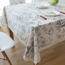 White Peony Flower Bar Coffee Table Cotton Linen Cloth Cover oUSr