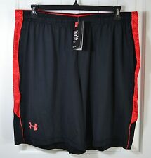 NWT MENS UNDER ARMOUR LOOSE FIT BLACK ACTIVE ATHLETIC SHORTS SZ 2XL